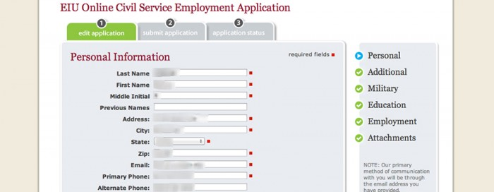 EIU Online Employment Application