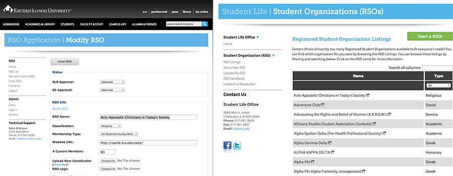 EIU Student Organizations App